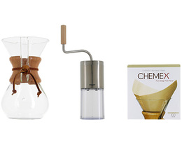 Kit Chemex n°1 : Chemex 6 tasses + moulin + 100 filtres