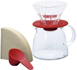 Kit Hario V60 conique 2 tasses rouge