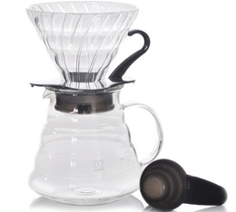 Hario V60 Dripper Kit in black with pouring jug - 4 cups