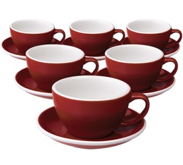 6 Tasses Café Latte et sous-tasses Egg 30 cl Rouge - Loveramics