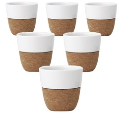 Set of 6 x 200ml LAUREN porcelain and cork cups by VIVA Scandinavia