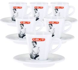 Lot de 6 tasses + sous tasses expresso 7cl - Lelit