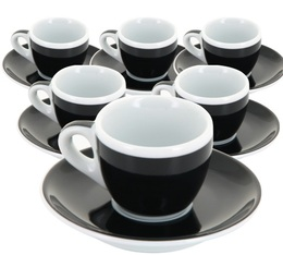 6 Tasses et sous-tasses expresso Verona noire millecolori - Ancap