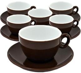 6 tasses et sous-tasses en porcelaine Inker marrons de 16 cl pour cappuccino