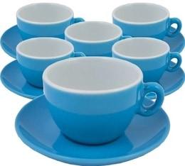 6 Tasses et sous-tasses en porcelaine Inker bleues de 16 cl pour cappuccino
