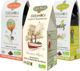 TerraMoka organic ground coffee - 3 different packs