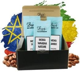 Coffret Evasion Café Moka Ethiopie - 3 cafés en grains x 250g - Cafés Lugat