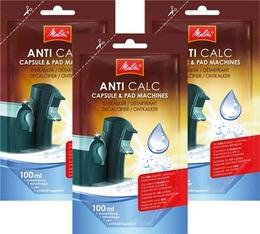 3 Détartrants Melitta Anti calc unidose liquide pour machines à capsules et dosettes - 100ml
