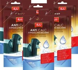 6 Détartrants Melitta Anti calc unidose liquide pour machines à capsules et dosettes - 100ml