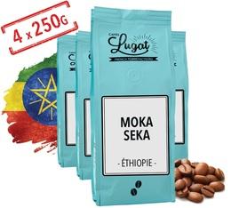 Café en grains : Ethiopie - Moka Seka - 1kg - Cafés Lugat
