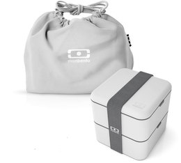 Pack Lunch box MB Square Coton gris + Pochette  - Monbento