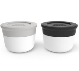 Monbento Temple sauce containers x2 (cotton grey & black)