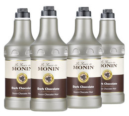 Lot de 4 Sauces Topping Monin - Chocolat Noir - 4 x 1.89 L