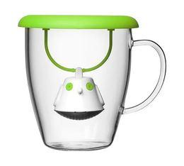 Mug QDO en verre 40cl + couvercle infuseur à thé Birdie vert
