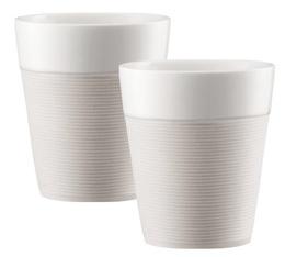 2 mugs Bistro en porcelaine avec bande silicone blanche 30cl - Bodum