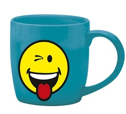 Mug Smiley bleu malicieux en porcelaine 35cl Zak!Design