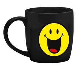 Mug Smiley noir joyeux en porcelaine 35cl - Zak!Design