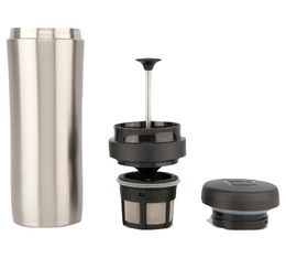Mug travel press alu brossé avec filtre à café - 35cl - Espro