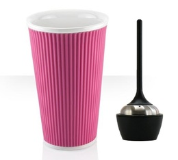 Les Artistes Paris porcelain mug with pink silicone band and tea infuser