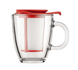 Bodum Yo-Yo glass mug with red tea filter - 35cl