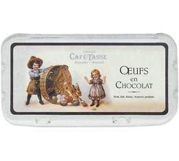 Boîte de 18 oeufs en chocolat (noir/lait/blanc) - 235gr - Café Tasse
