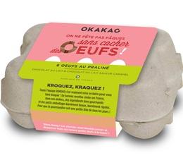 6 oeufs pralinés - Mix lait praliné et lait praliné caramel - Okakao