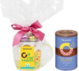 Mug garni de 12 oeufs pralinés (mix saveurs) = 250g de chocolat en poudre OFFERT - Okakao