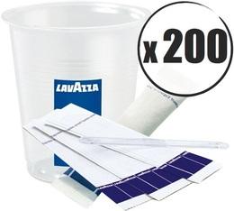 Kit café Lavazza : 200 gobelets + touillettes + sucres