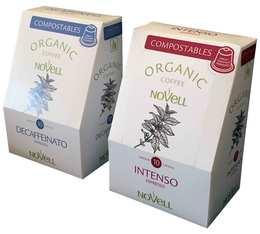 Pack Capsule organique 100% Compostable Intenso et déca Bio pour Nespresso x10