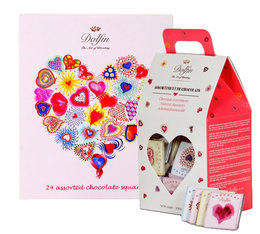 Dolfin Pack of 2 Gift Boxes Assorted Love Chocolate Squares