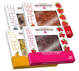 Pack de 4 Tablettes gourmandes Chocolat et fruits 4x80 gr - Monbana