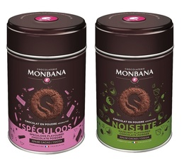 Monbana pack: 2 flavoured chocolate powders - Hazelnut and Speculoos
