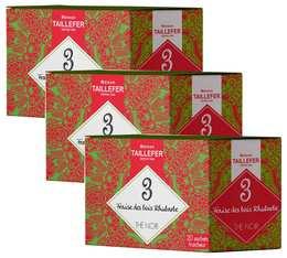 Pack Thé noir fraise des bois, rhubarbe en sachet- Maison Taillefer - 3 boîtes de 20 sachets
