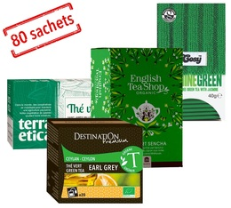 Organic green teas selection pack - 4 boxes of 20 sachets by various brands