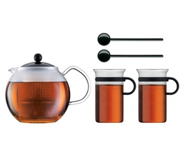 Bodum Assam black Tea set - 1L Assam tea press + 2 x 300ml cups + 2 stirrers