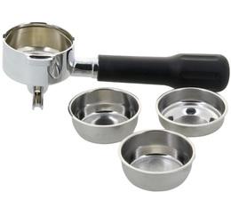 Porte-filtre laiton 2 becs 57mm + 3 filtres (1 tasse, 2 tasses, ESE) pour machine expresso Mokita