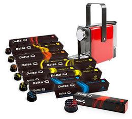 100 capsules Delta Q + Machine Delta Qosy rouge à prix de fou