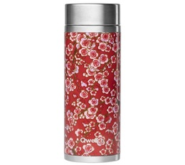 Qwetch insulated Tea infusing flask - Red with Flowers - 300ml