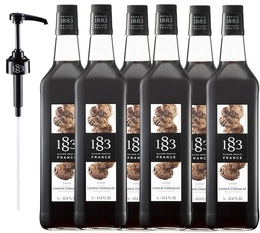 Lot de 6 Sirops 1883 Routin Cookie Chocolat - 6x1L + Pompe doseuse