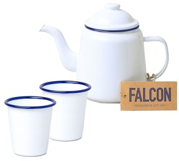 Enamel Tea set with white teapot with a blue border + 2 cups - Falcon