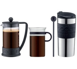 Bodum Brazil French Press with travel mug and glass cup