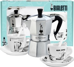 Cafetière italienne Bialetti Moka Express Carrousel + 2 tasses et sous tasses blanches