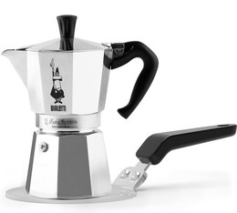 Bialetti Moka Express 6 cups Coffee Maker + Induction Plate Converter