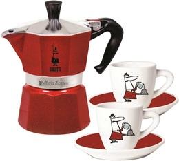 Cafetière italienne Bialetti Moka Express 3 tasses rouge + 2 tasses et sous tasses