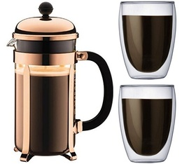 Bodum Chambord 1L French press in copper colour + 2 Pavina glasses
