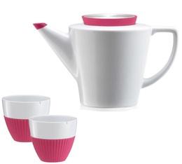 Set Théière 1L et tasses 25cl en porcelaine et silicone fushia - VIVA Scandinavia