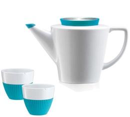 Set Théière 1L et tasses 25cl en porcelaine et silicone turquoise - VIVA Scandinavia