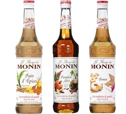 Lot de 3 Sirops Monin Gourmands : Citrouille Epicée/Pain d'Epices/Donuts - 3x70cl