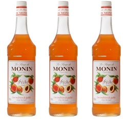 Lot de 3 Sirops Monin - Pêche - 3 x 1 L