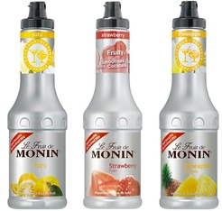 Lot de 3 Smoothies Fruit de Monin : Fraise / Yuzu / Ananas. Conditionnement 3 x 50cl.